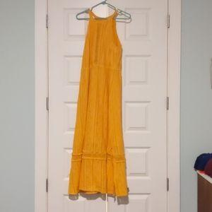 Yellow crochet detail maxi dress